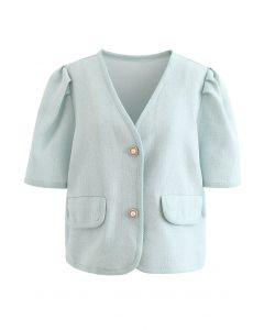 Tweed-Blazer mit Perlmuttknöpfen in Mint