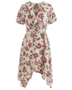 Asymmetrisches Wickelkleid mit Retro-Rosendruck zum Selbstbinden