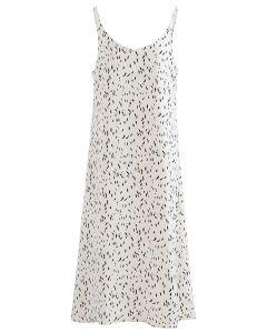 Falling Spotted Cami-Kleid mit V-Ausschnitt in Elfenbein