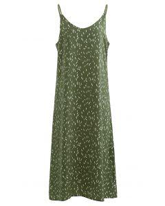 Falling Spotted Cami-Kleid mit V-Ausschnitt in Grün
