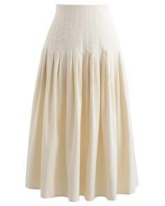 Midirock aus Baumwolle mit plissierter Taille in Creme