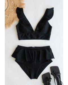 Rüschen-Bikini-Set mit Reißverschluss hinten in Schwarz