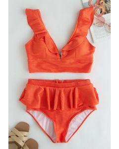 Rüschen-Bikini-Set mit Reißverschluss hinten in Orange