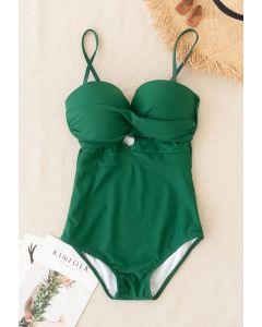 Cami-Badeanzug mit überkreuzter Vorderseite in Grün