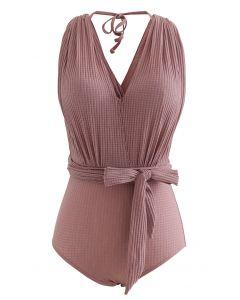 Neckholder-Badeanzug mit offenem Rücken