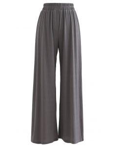 Gemütliche Strickhose mit geradem Bein in Grau