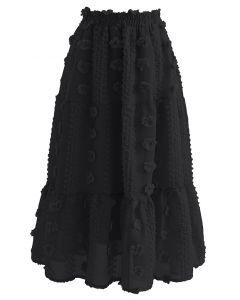 Netzrock aus Baumwolle mit Blumen und Rüschensaum in Schwarz