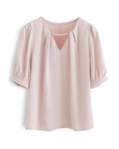 Satin-Hemd mit Perlenausschnitt in Rosa
