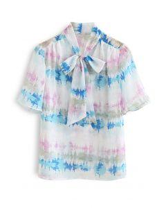 Halbtransparentes Hemd mit abstraktem Print und Flock Dots Bowknot in Rosa
