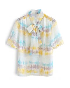 Halbtransparentes Hemd mit abstraktem Print und Flock Dots Bowknot in Gelb