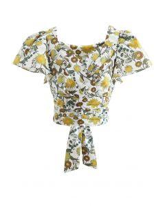 Gewickeltes Crop-Top mit Bowknot-Plissee und Blumendruck
