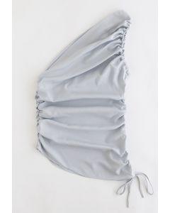One-Shoulder-Top mit Rüschen in Grau