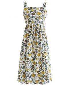 Cami-Kleid mit Löwenzahn-Print und Rückenausschnitt