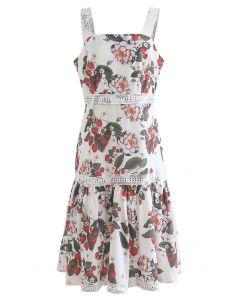 Camisole-Kleid mit Erdbeer- und Blumenmuster