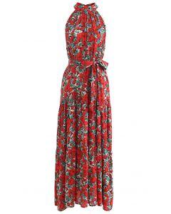 Rotes ärmelloses Kleid mit Blumenmuster