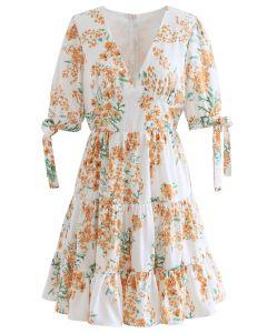 Spicate Minikleid mit Blumendruck und Rüschen