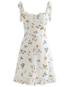 Cutie Lemon Branch Printed Tie Strap Minikleid