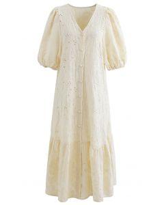 Gesticktes Dolly-Kleid mit Knöpfen und Blasenärmeln in Hellgelb