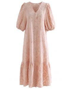 Gesticktes Dolly-Kleid mit Knöpfen und Blasenärmeln in Koralle