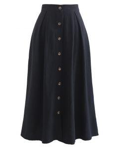 A-Linien-Midirock aus Baumwolle mit Knopfleiste in Schwarz