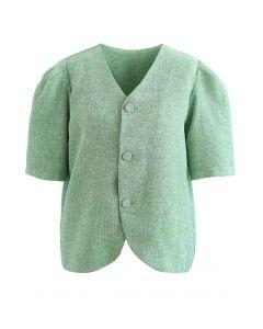 Kragenloser, strukturierter Blazer mit Knöpfen in Grün
