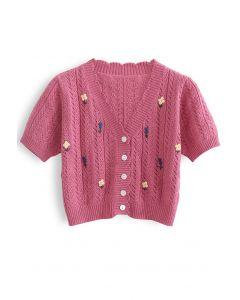 Floweret – Kurze Strickjacke mit Ösen und Knopfleiste in Rouge Pink