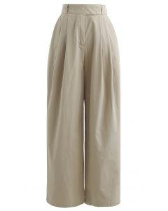 Baumwollhose mit geradem Bein und Taillengürtel in Tan