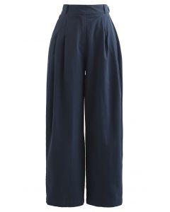 Baumwollhose mit geradem Bein und Taillengürtel in Marineblau