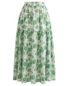 Midirock aus Baumwolle mit Blumenmuster in Grün