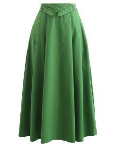 Plissierter Midirock aus Baumwolle mit Gürtel in Grün