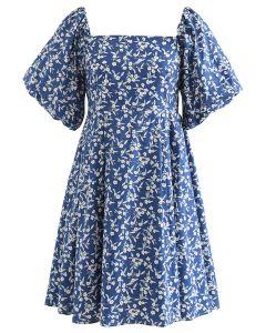 Square Neck Bubble Sleeve Floret Gerafftes Dolly Kleid in Blau