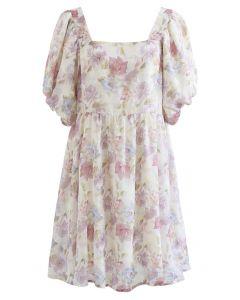 Jacquard-Dolly-Kleid mit eckigem Ausschnitt und Blasenärmeln