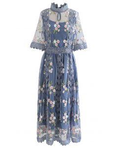 Garden Glamour Besticktes Netzkleid mit Häkelbesatz