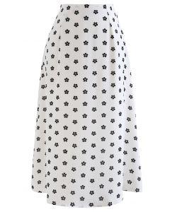 Hoch taillierter A-Linien-Midirock mit Gänseblümchen-Print in Weiß
