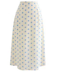 Hoch taillierter A-Linien-Midirock mit Gänseblümchen-Print in Creme