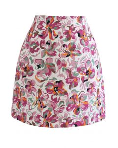 Geprägter Mini-Knospenrock mit Blumenmuster in Pink