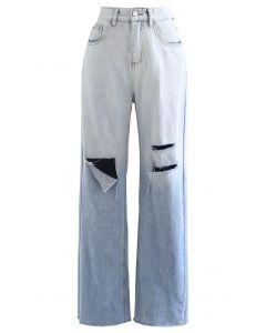 Ombre zerrissene Jeans mit weitem Bein