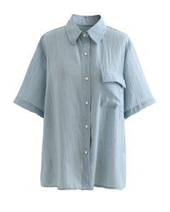 Strukturiertes Hemd mit aufgesetzten Taschen in Altblau