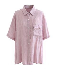 Strukturiertes Hemd mit aufgesetzten Taschen in Altrosa