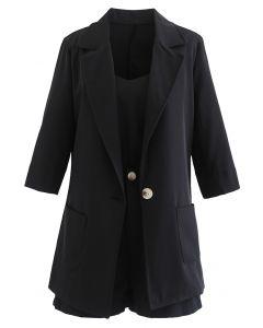 Dreiteiliges Set aus Blazer und Shorts in Schwarz