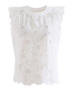 Ärmelloses Top mit Jakobsmuschelblüten-Stickerei und Ösen in Weiß