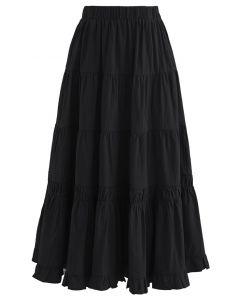 Einfarbiger Midirock aus Baumwolle mit Rüschen in Schwarz