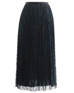 Full Lace Pleated Midi Skirt in Black