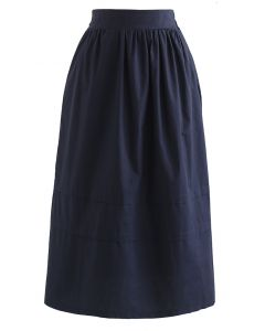 Pintuck Detail Decorated Midi Skirt in Navy