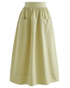 Contrast Line Patched Pocket Midi Skirt in Mustard