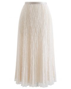 Full Lace Pleated Midi Skirt in Cream