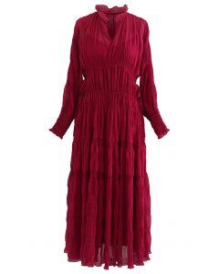 Chiffon-Kleid mit durchgehendem, seitlichem Kordelzug in Rot