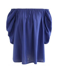 Frilling Bubble Sleeve Off-Shoulder Top in Blue