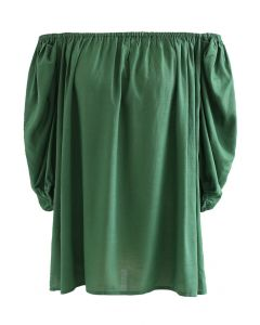 Frilling Bubble Sleeve Off-Shoulder Top in Green