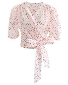 Blush Pink Polka Dot Wrap Crop Top